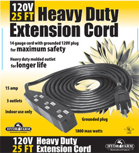 Heavy Duty Extension Cord, 120v, 25ft - 3 outlet