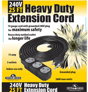 Heavy Duty Extension Cord, 240v, 25ft - 3 outlet