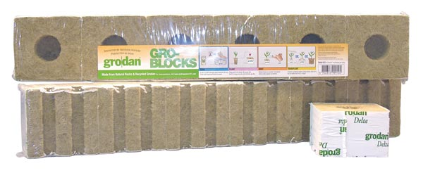 "Grodan Delta 5.6 Block (8 Pack), 3""x3""x4"" (w/ Hole) - Click Image to Close"